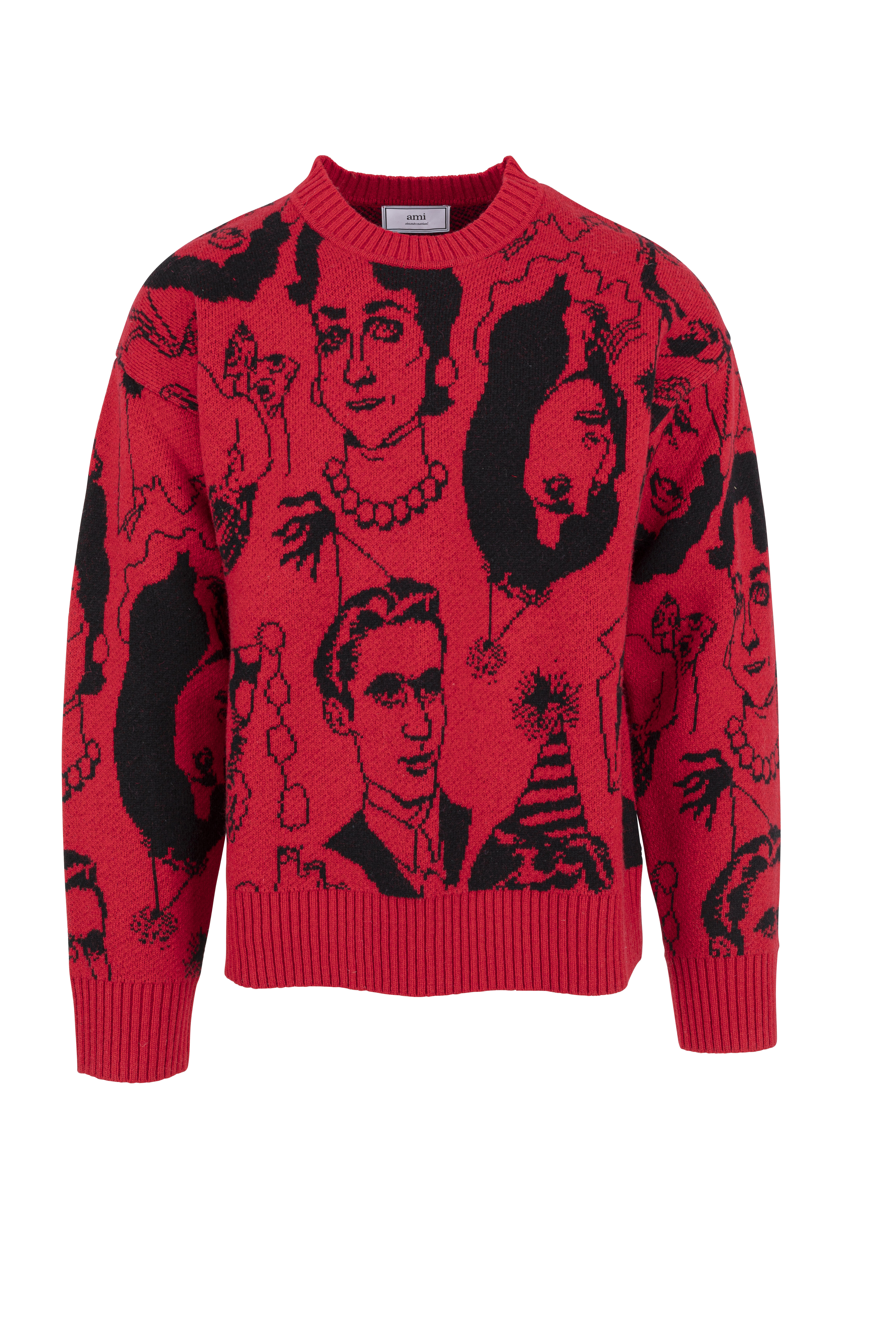 faces jacquard sweater